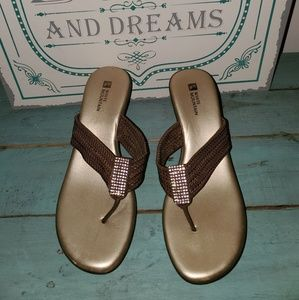 White Mountain Shoes - 5/$20 White Mountain Sz 8 Brown Rhinestone Wedges